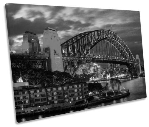 Sydney harbour bridge city b/&w single toile murale art encadrée imprimer
