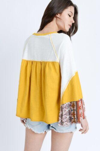 In Loom Mix Print long sleeve mix print boho top shirt
