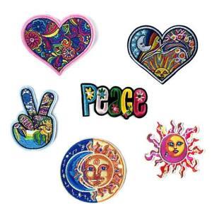 4x-Hippie-Love-Bus-Blumen-Frieden-Patch-Art-gesticktes-Eisen-annaehen-Applik-I3K0