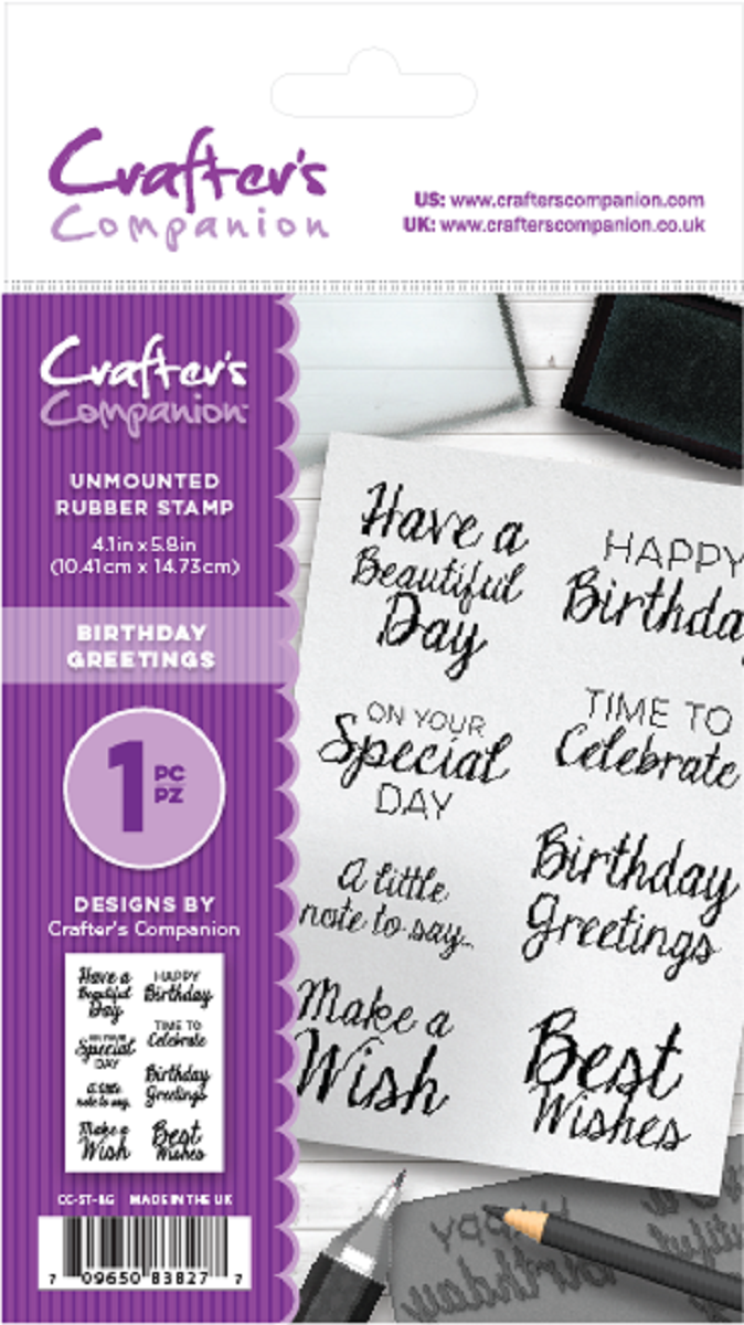 New Crafter/'s Companion Unmounted Rubber Stamps Birthday Greetings