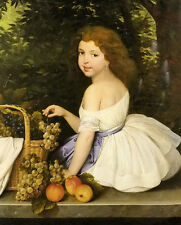 Oil painting arthur grottger - portrait of a girl with still life fruits grapes