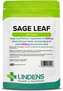 Sage-Leaf-500mg-100-Comprimidos-Menopausia-Salud-Lindens-hormona-SUDORES-SOFOCOS