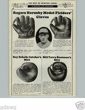 1929 PAPER AD Baseball Glove Bill Terry Ray Schalk Rogers Hornsby 3 Finger