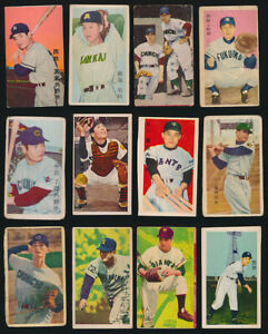 1950s-1960s-Lot-of-12-Diff-Cards-Japanese-Baseball-Color-Menko-Japan-Card