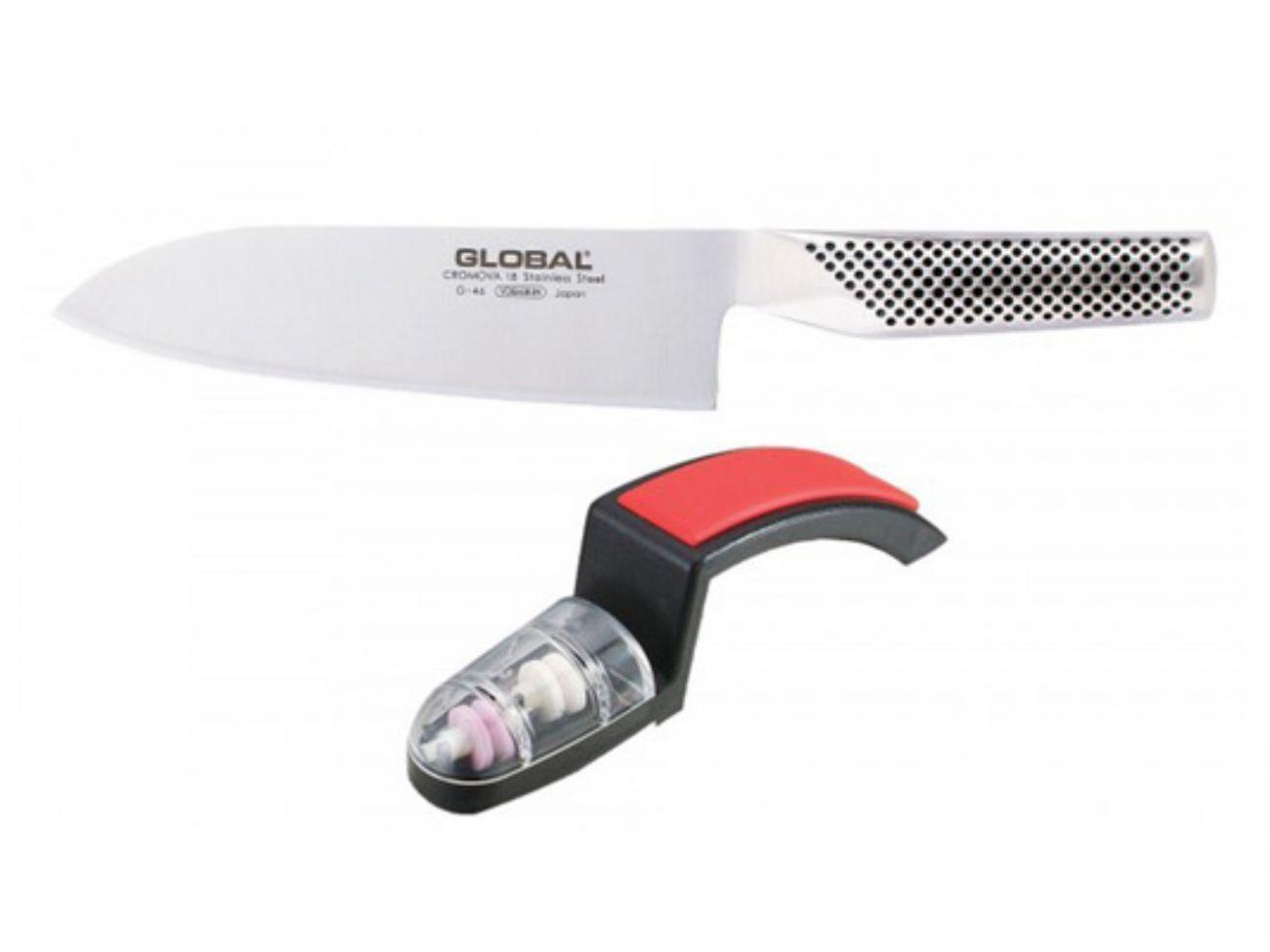 Global g-46220br Starterset couteau-Contour-Set g-46 Santoku Couteau et meuleuse