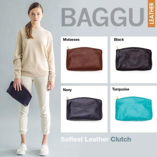 Milled L Baggu Brass Natural Zipper Black With Handmade Leather Clutch zvqpXF