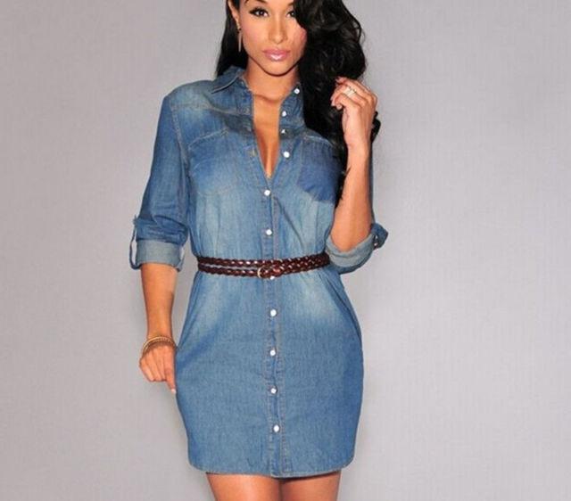 NEW Womens Longline Denim Shirt Dress Ladies Jean Dresses Size 8 1 10 14 12  1