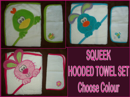 Choose Design NEW Purrfect Pets SQUEEK PLAYGRO Soft BABY HOODED TOWEL SET