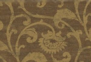Wallpaper-Designer-Metallic-Gold-Floral-Scroll-on-Brown-Faux