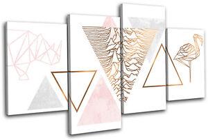 Image Is Loading Geometric Flamingo Rose Gold Fashion MULTI CANVAS WALL