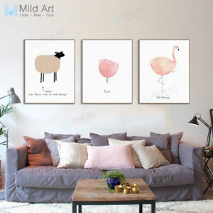 Image Is Loading Cute Watercolor Animal A4 Art Print Poster Modern
