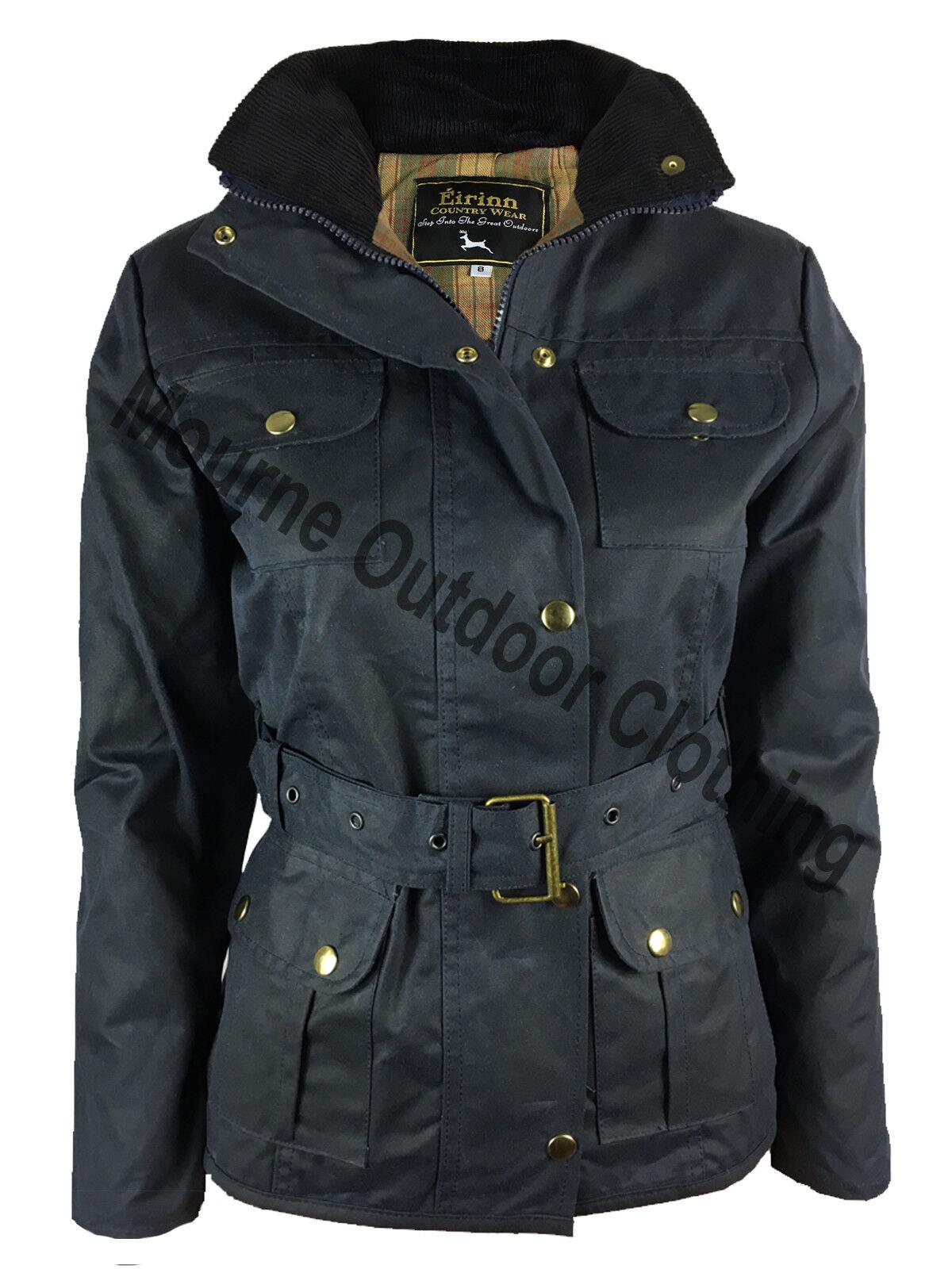 Da Donna con Country Wear Giacca Con Cintura Blu Cera Cotone PARAFFINATO Cappotto Impermeabile Blu Cintura Navy 26bed8