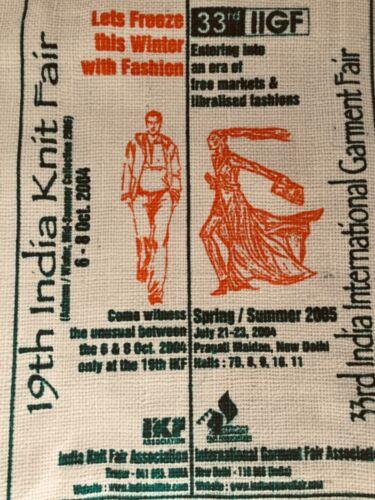 India Apparel Expo 2004 Jute Burlap Tote Handbag Shopping Bag Zipper