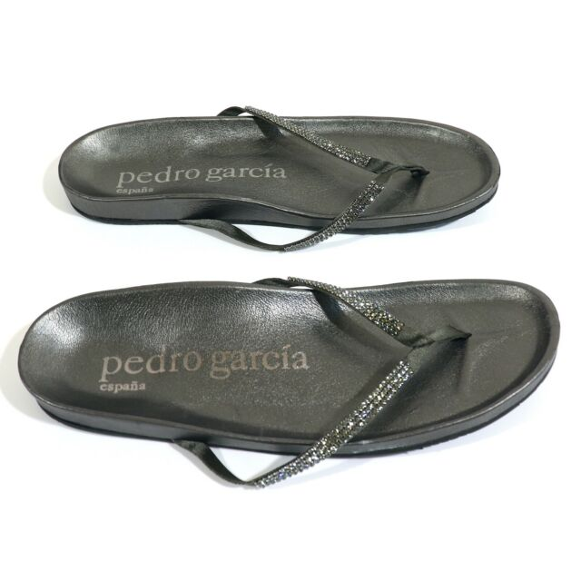 Pedro Garcia Leather Swarovski Crystal Studded T Strap Sandals Sz 41 (11 US)