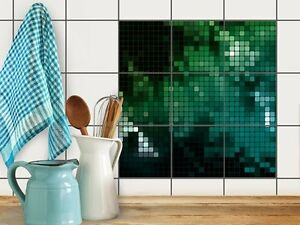 mosaik fliesen folie sticker aufkleber bad k che baddeko fliesenmuster ebay. Black Bedroom Furniture Sets. Home Design Ideas