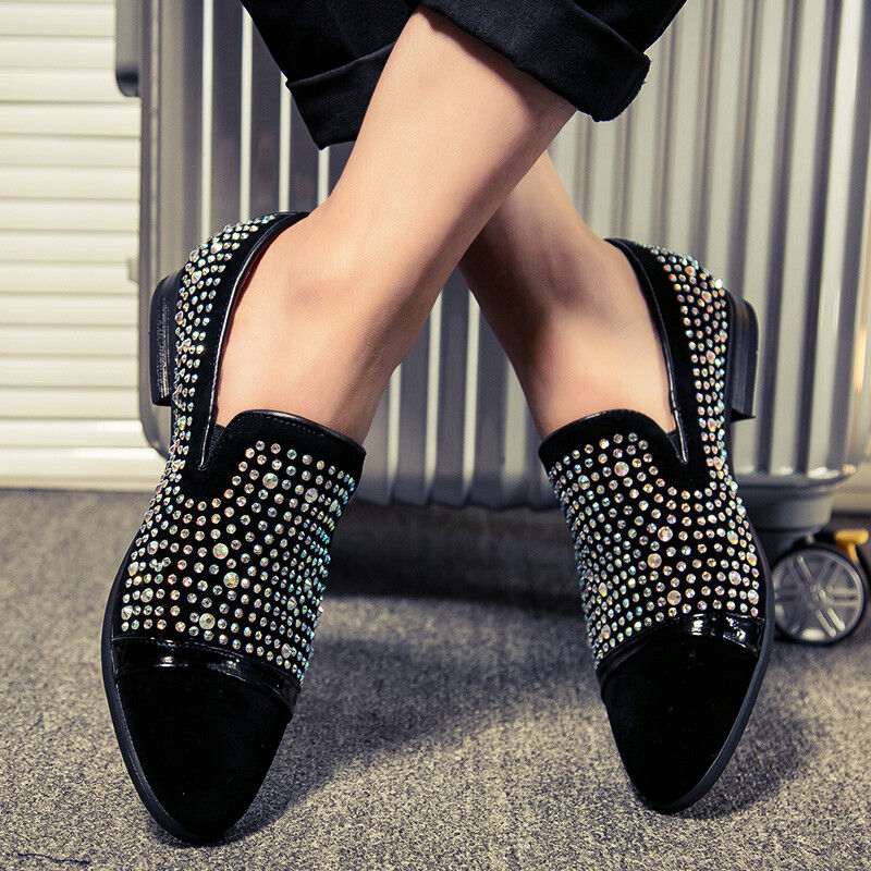 Men Rhinestone Dress shoes Pointed Toe Low Heels Fashion Casual Loafers Slip On