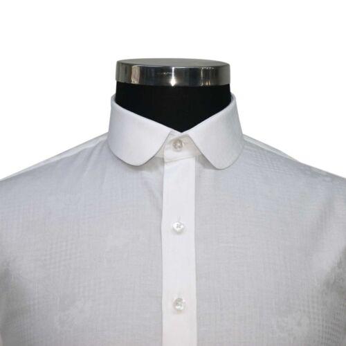 Rotondo Floreale Bianco Peaky Blinders Uomo Camicia Jacquard Penny Colletto xvvgzq8wP