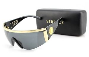 6d4bc814847 NEW Genuine VERSACE TRIBUTE Black Gold Grey Shield Sunglasses VE ...