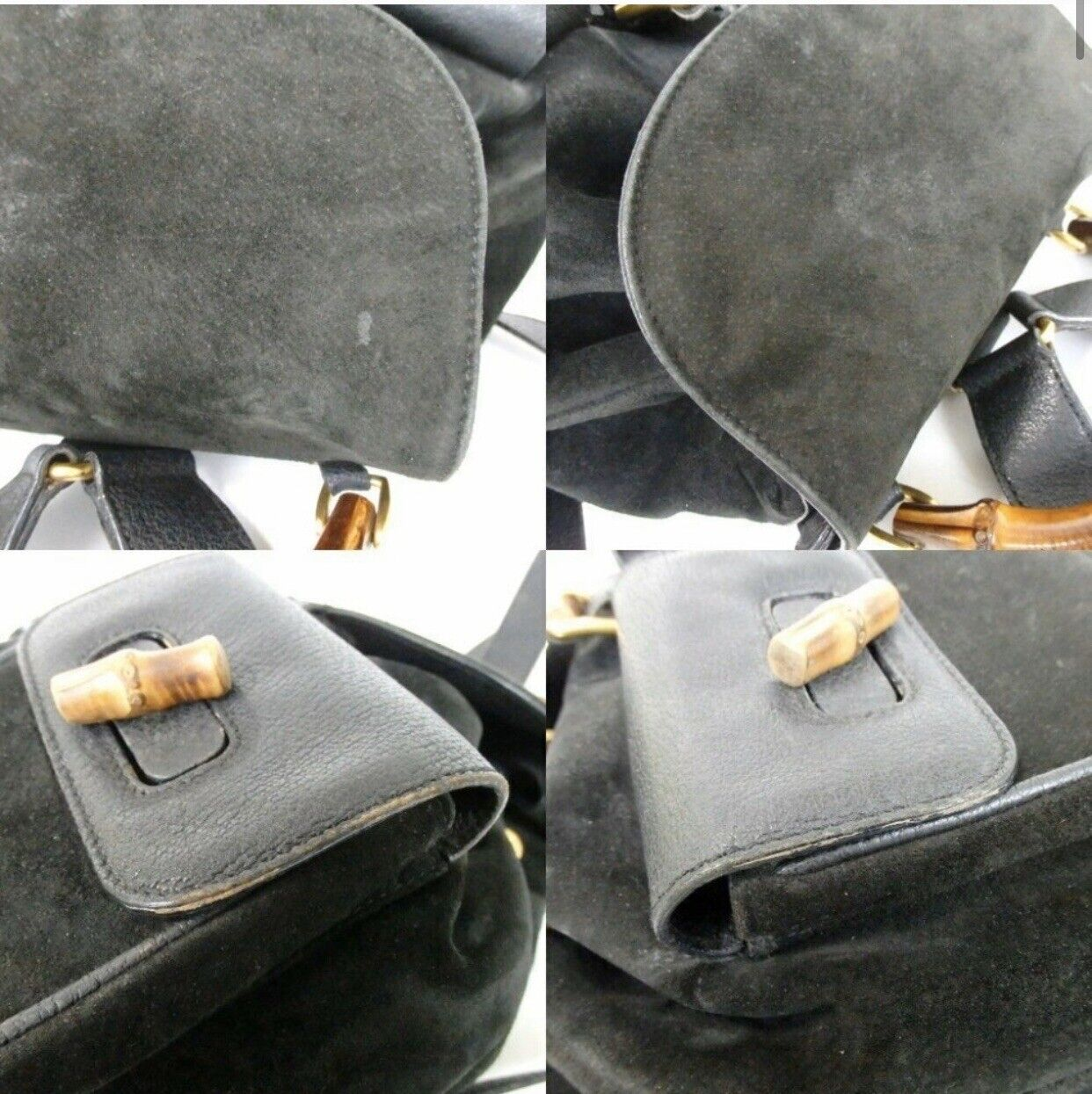 Authentic GUCCI bamboo Backpack - Daypack Suede L… - image 7