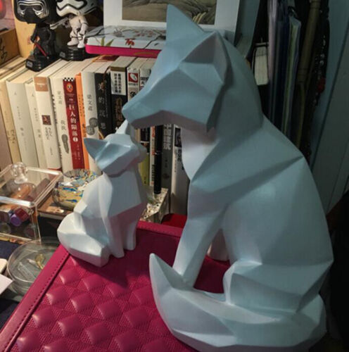 White Abstract Geometric Fox Sculpture Home Decoration model Animal Resin Statue
