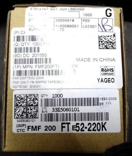 30 220k 3W resistencias de película de metal en miniatura a prueba de explosión FMF200FTE52-220k 220K Ohm