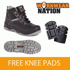 Worksite Ss609sm Leather Work Hiker Safety Boot Steel Toe Cap Free Knee Pads