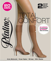 Platino Total Confort Knee High Socks 2 Pair Pack Comfort Fit Silky Soft Nylons