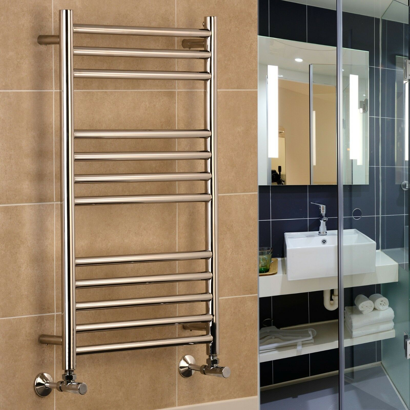 RIGA en Acier Inoxydable Chauffage Central Porte-serviettes salle de bains radiateur 400 500 600 W