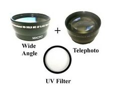 Wide Lens + Tele + UV Filter for Sony NEX-EA50 NEX-EA50EH NEX-FS100 NEX-VG10