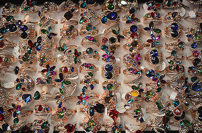 Mixed lots 30pcs colorful crystal rhinestone rose gold plated Lady's Charm rings