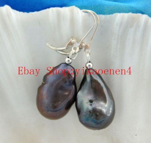Huge 14-22mm South Baroque Black Pearl Dangle Earring Sterling Silver Color Hook