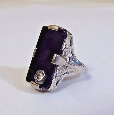 Vintage White Gold / Platinum Onyx Mourning Ring With Diamond, ~ Size 3.5/.75