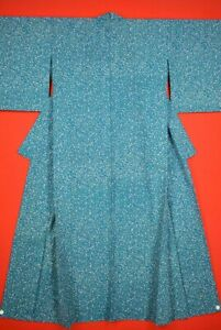 Vintage-Japanese-Wool-Antique-KIMONO-Kusakizome-Dyde-Textile-VE55-680