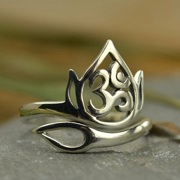 Om Yoga NEW Adjustable Lotus Flower and Ohm Ring 925 Sterling Silver