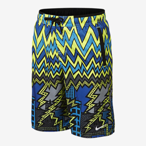 "NWT Nike Sonic Lightning 9/"" Volley Boy/'s Swim Trunks Blue Yellow Grey Large"