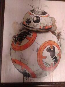 bb8 Star Wars Framed Wooden Wall Hanging Fan Art