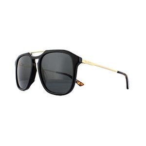 afa25475a3f Image is loading Gucci-Sunglasses-GG0321S-001-Black-Gold-Grey