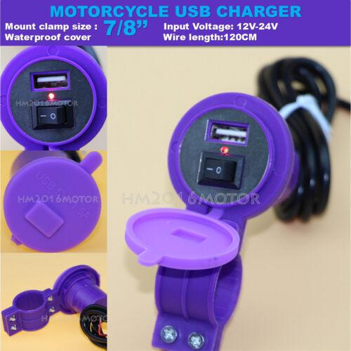 Motorcycle USB Charger For Kawasaki Ninja ZX 600 750 6R 7R 9R 12R 10R 14 Purple