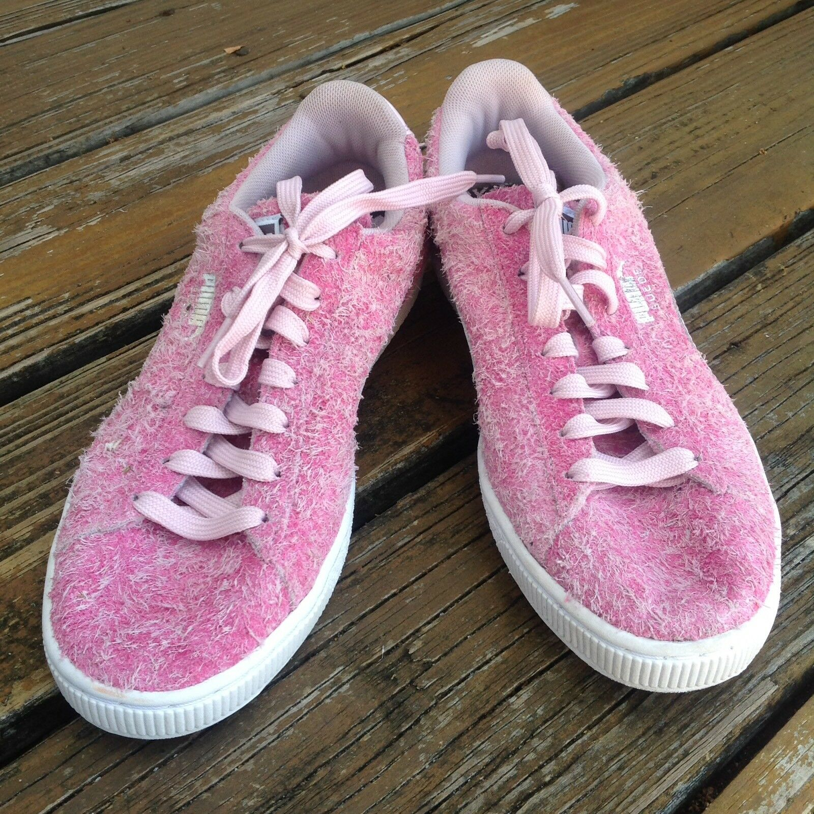 Puma Suede Elemental Casual Women's Pink Sneakers 6.5 Athletic Hairy Shag Shoes
