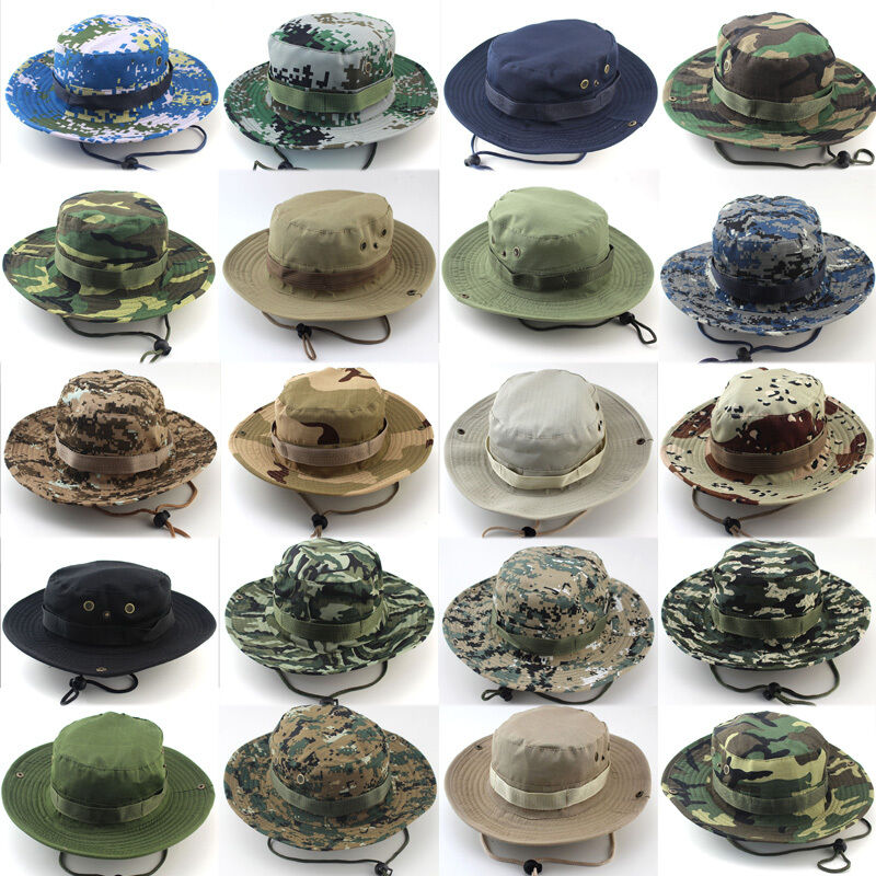 Camouflage Bucket Hat Boonie Hunting Fishing Army Outdoor Wide Brim Sun Cap Men