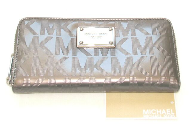 3268444d1091 Michael Kors Light Grey Mono Patent MK Metallic Zip Around CONTINENTAL  Wallet