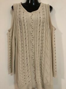 NEW-WITHOUT-TAGS-DESIGNER-AUTOGRAPH-CREAM-BEADED-CUT-OUT-KNIT-CARDIGAN-L