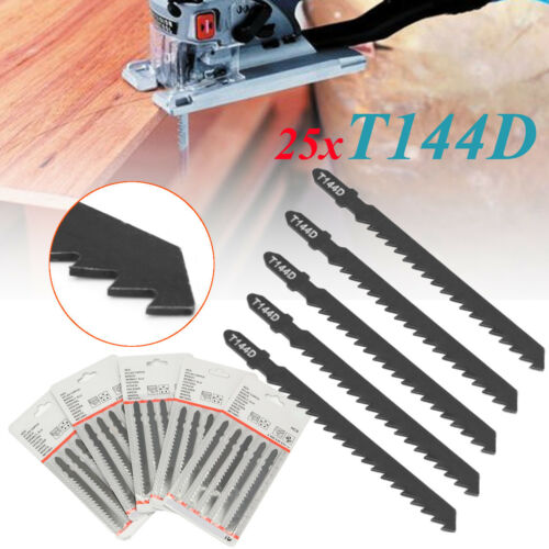 25Pcs T144D Hard Wood Curve Cut Jigsaw Sabre Saw Blade Serrate Stainless Blac