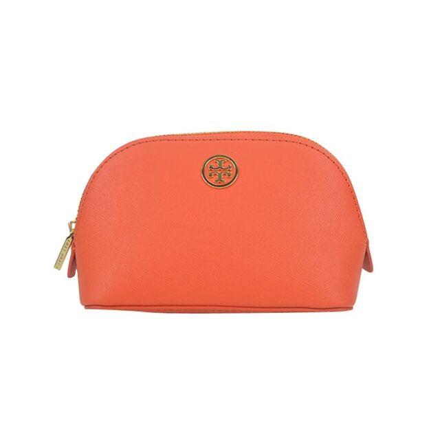 Auth Tory Burch Robinson Blood Orange Cantaloupe Dome Small Makeup Bag Pouch 5b4baecf8a0ec