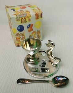 Silver Plated Sheffield England Christening Set Vintage Egg Cup Spoon Duck- P26
