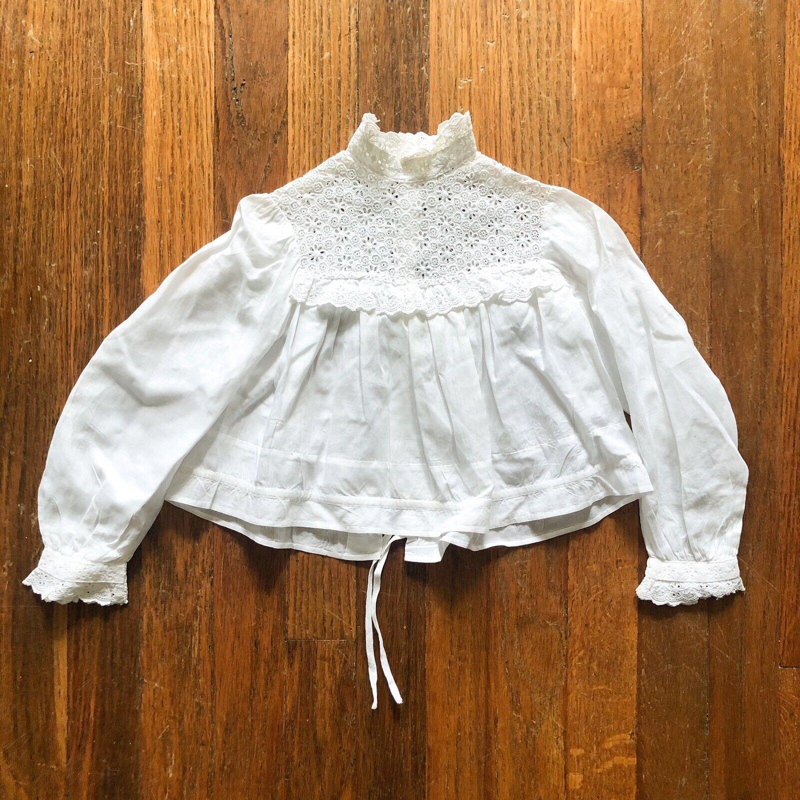 Antique 1900s Girls Edwardian Bodice Blouse Lace … - image 1