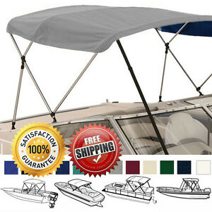 "BOAT BIMINI TOP COVER 3 BOW 72""L 36""H 61""-66""W Grey W/ BOOT Rear Support Poles"