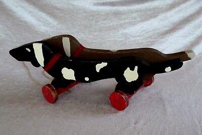 Antikes Holzspielzeug Doppelter Hund Auf Rädern Um 1900