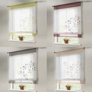 Image Is Loading Sheer Kitchen Bathroom Balcony Window Curtain Liftable Roman