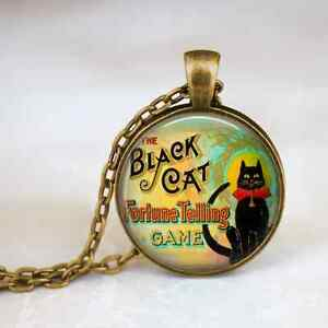 The-Black-Cat-Necklace-Bronze-pendant-and-chain-Victorian-Fortune-Teller-Game